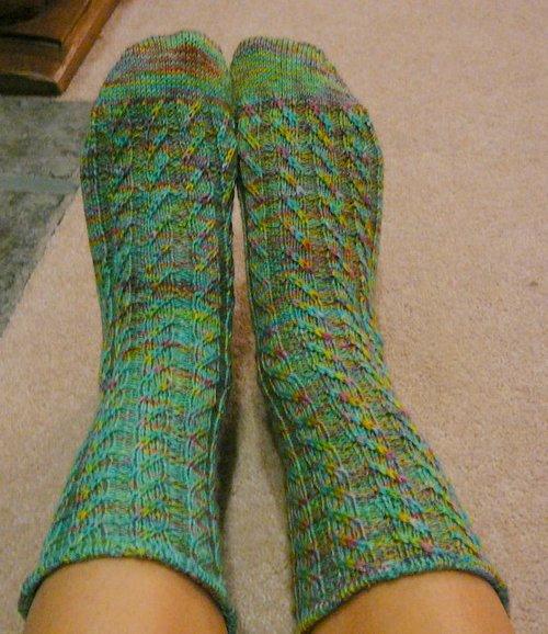 Spiraling up the Ribs socks