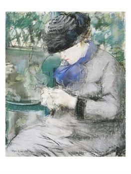 Girlsittinginthegardenortheknitting1879g